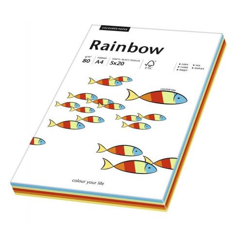 Papier kolorowy Rainbow A4 80 g 100 szt. - mix intensywny