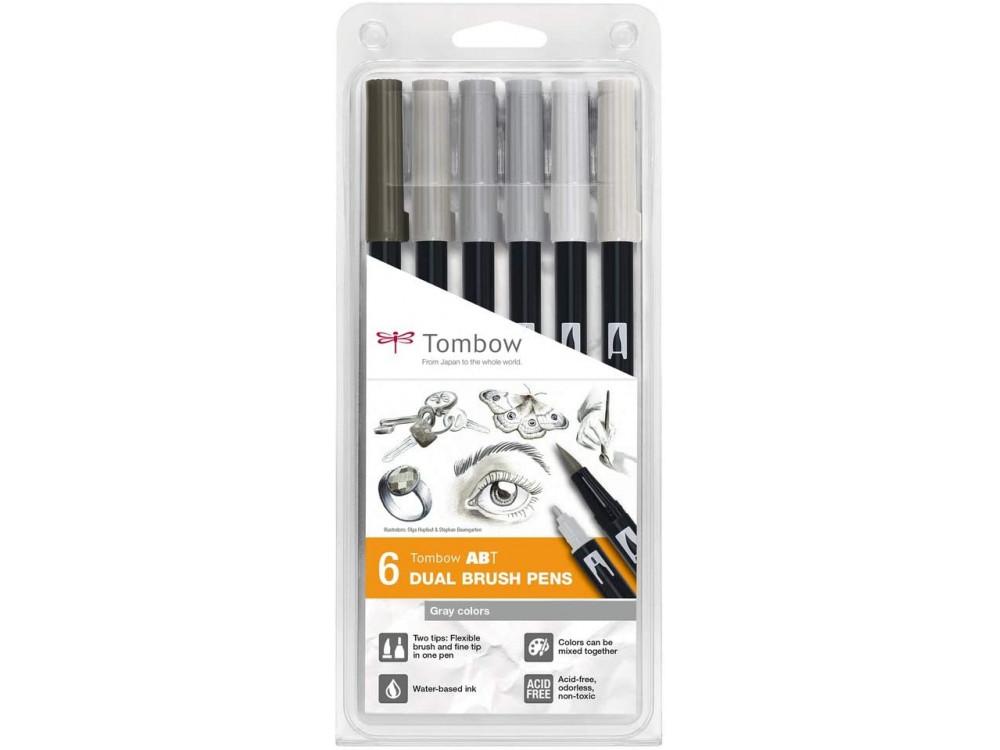 Dual Brush Pen Set - Tombow - Gray Colors, 6 pcs.