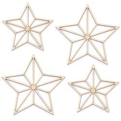 Cardboard decorations - Simply Crafting - stars, 4 pcs.