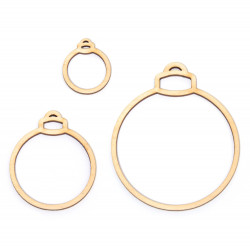 Wooden elements, circle pendants - Simply Crafting - baubles, 3 pcs.