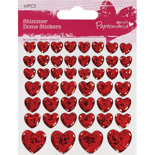 Clip Strip Shimmer Heart Stickers - Papermania, 46 pcs