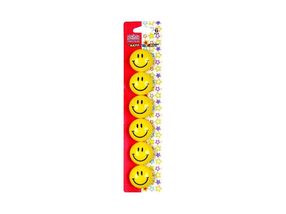 Magnesy okrągłe buźki Smile - 30 mm, 6 szt.