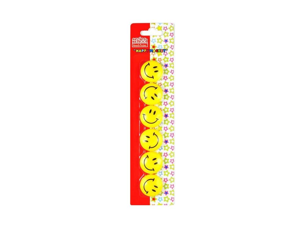 Magnesy okrągłe buźki Smile - 35 mm, 5 szt.