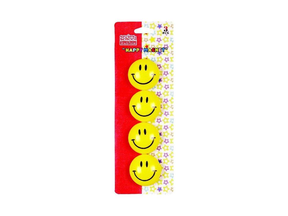 Magnesy okrągłe buźki Smile - 40 mm, 4 szt.