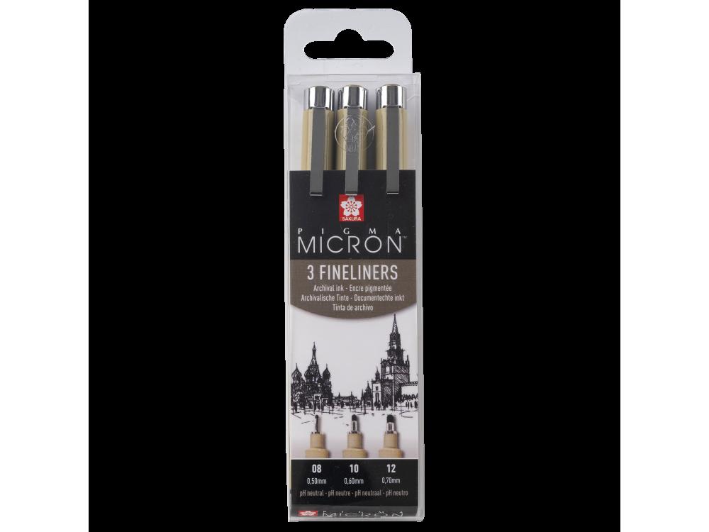 Pigma Micron Black fineliners set - Sakura - black, 3 pcs.