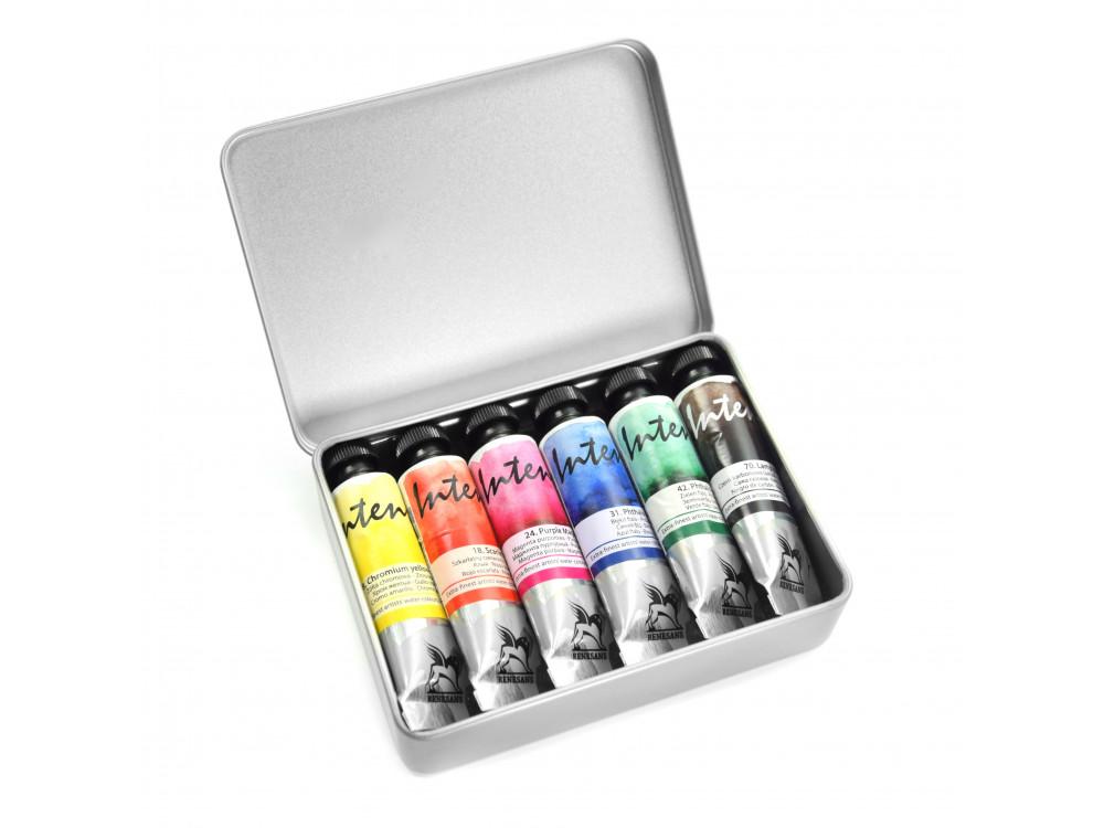 Watercolors Intense in metal case - Renesans - 6 pcs.