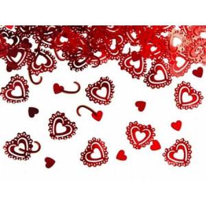 Konfetti - czerwone serca puste 15g