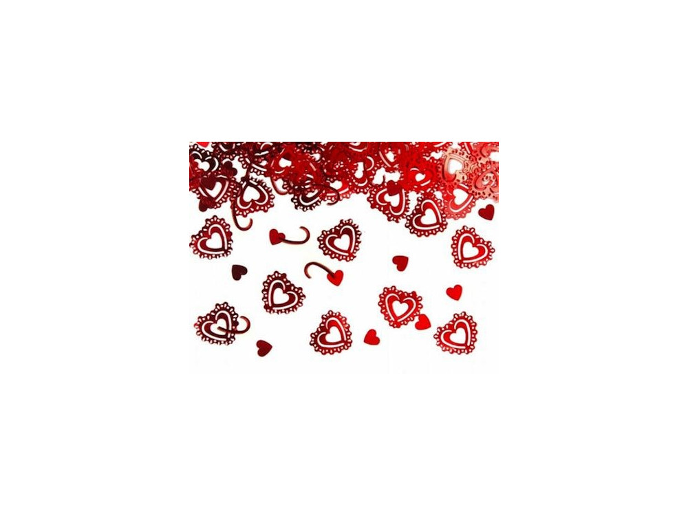 Konfetti - ażurowe serca, czerwone, 15 g