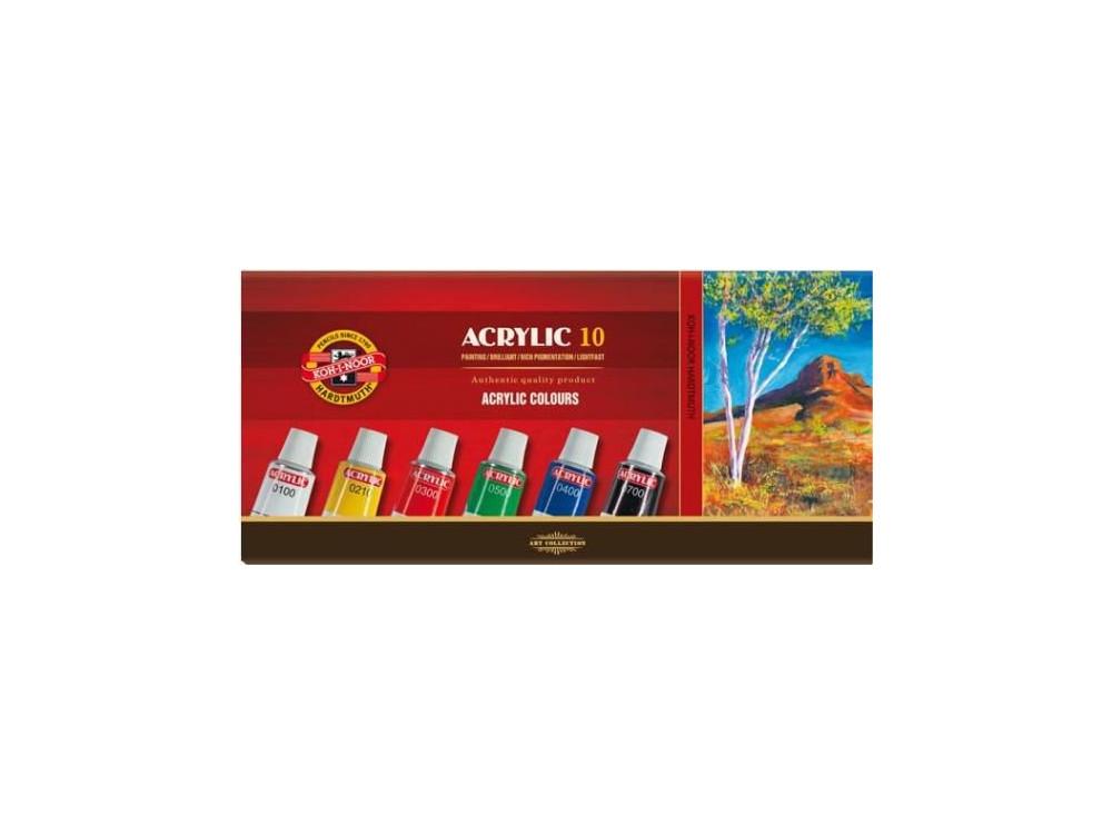 Zestaw farb akrylowych - Koh-I-Noor -  10 x 16 ml