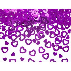 Konfetti - metalizowane serca różowe 15g