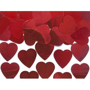 Konfetti - czerwone serca pełne 25mm 10g