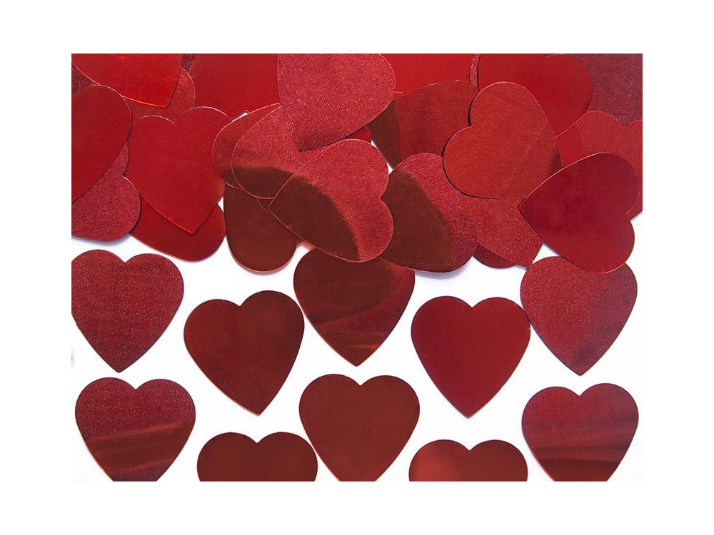 Konfetti serca - czerwone, 25 mm, 10 g