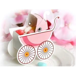 Pudełeczka dla gości wózek różowy 10 szt.