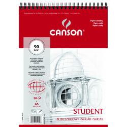 Blok szkicowy Student A5 - Canson - spirala, 90 g, 50 ark.