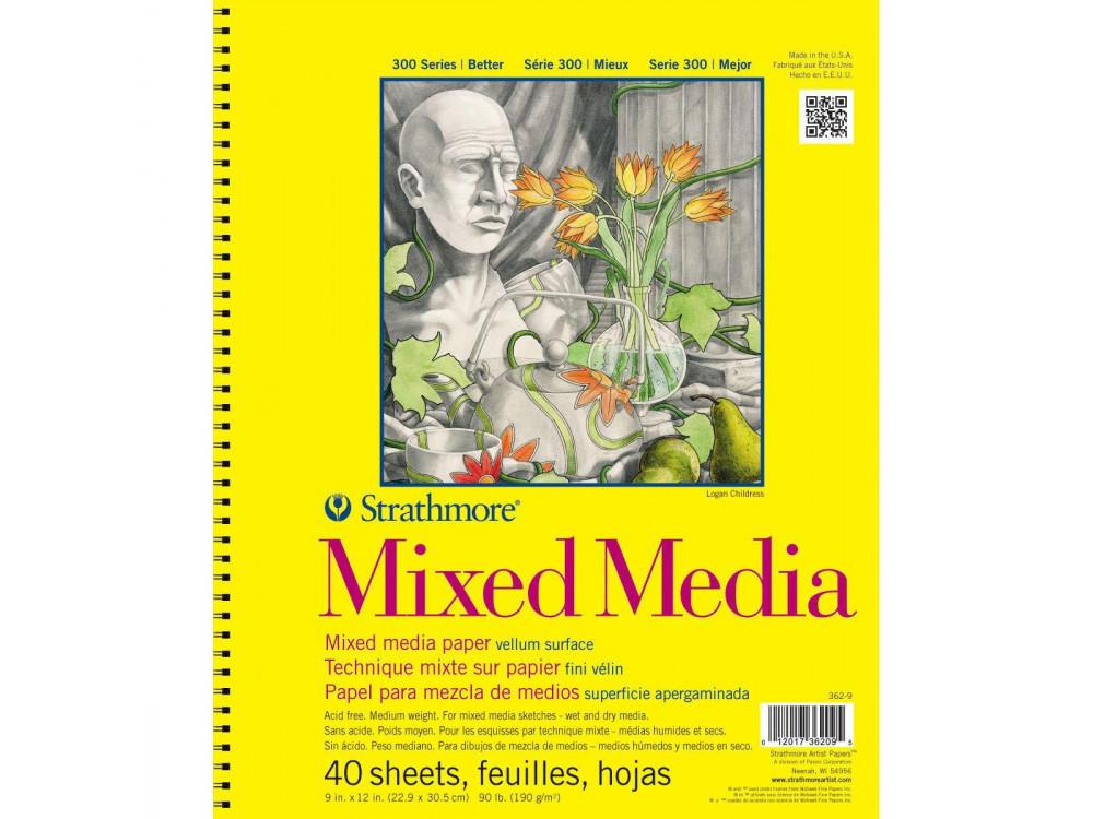 Mixed Media Bristol Vellum paper 23 x 30,5 cm - Strathmore - 190 g, 40 sheets
