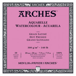 Watercolor paper - Arches - hot pressed, 20 x 20 cm, 300 g, 20 sheets