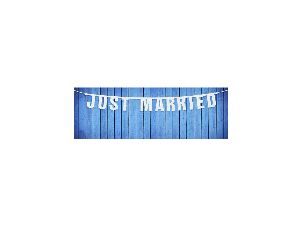 Baner weselny Just Married - biały, 18 x 170 cm