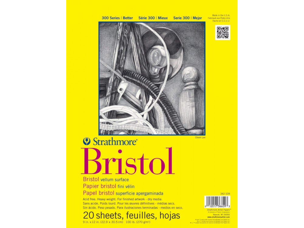 Bristol Vellum paper 23 x 30,5 cm - Strathmore - 270 g, 20 sheets