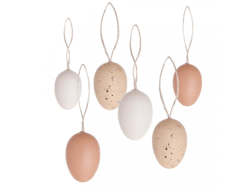 Eggs pendants - DpCraft - natural, 6 pcs