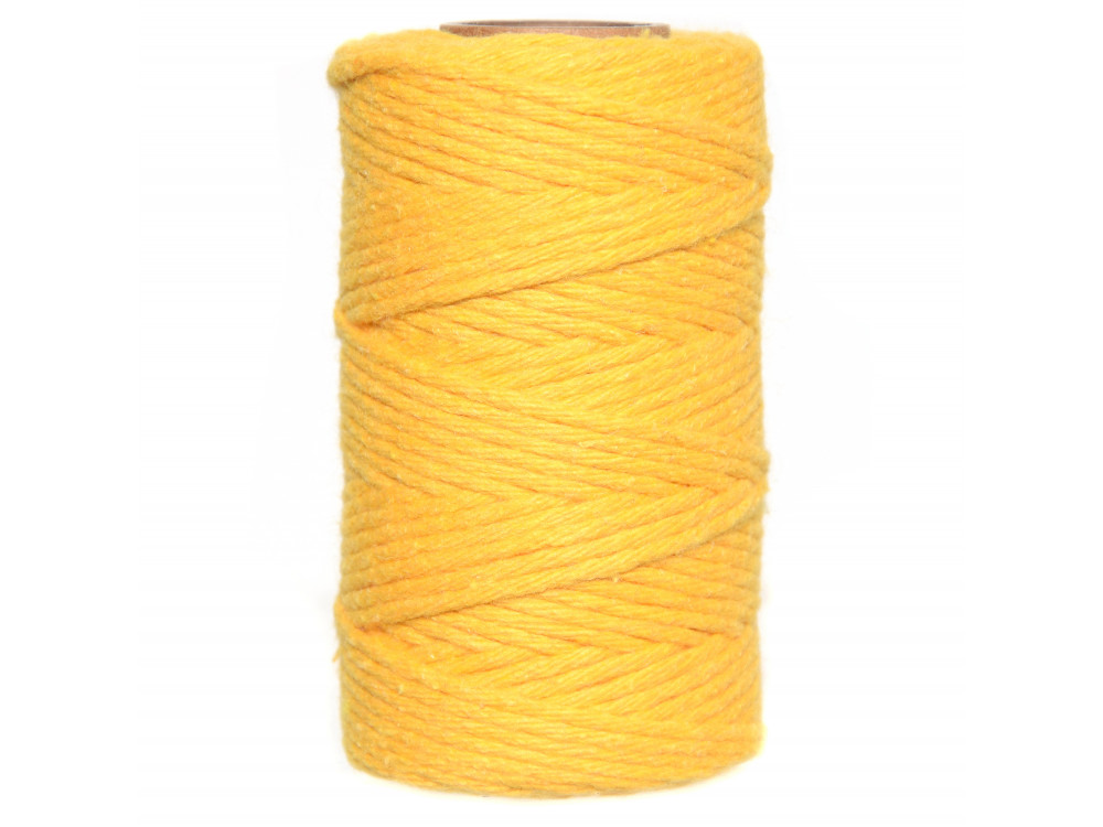Cotton cord for macrames - yellow, 2 mm, 60 m