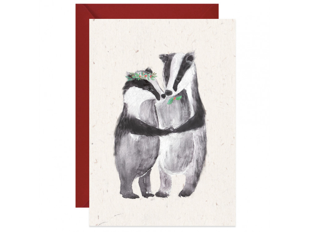 Greeting card A6 - Paperwords - Love badgers