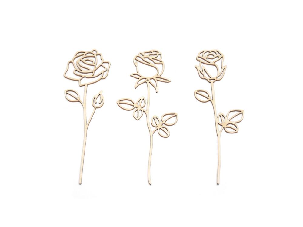 Cardboard decorations - Simply Crafting - rose stalks, 3 pcs