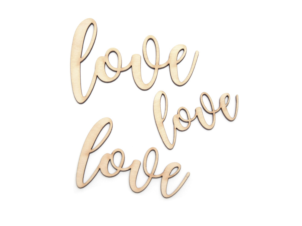 Wooden inscriptions - Simply Crafting - love 1, 3 pcs