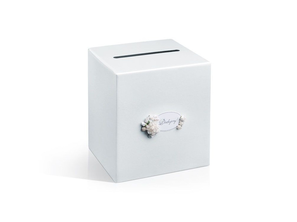 Pudełko na koperty i życzenia, perłowe białe 24 x 24 cm