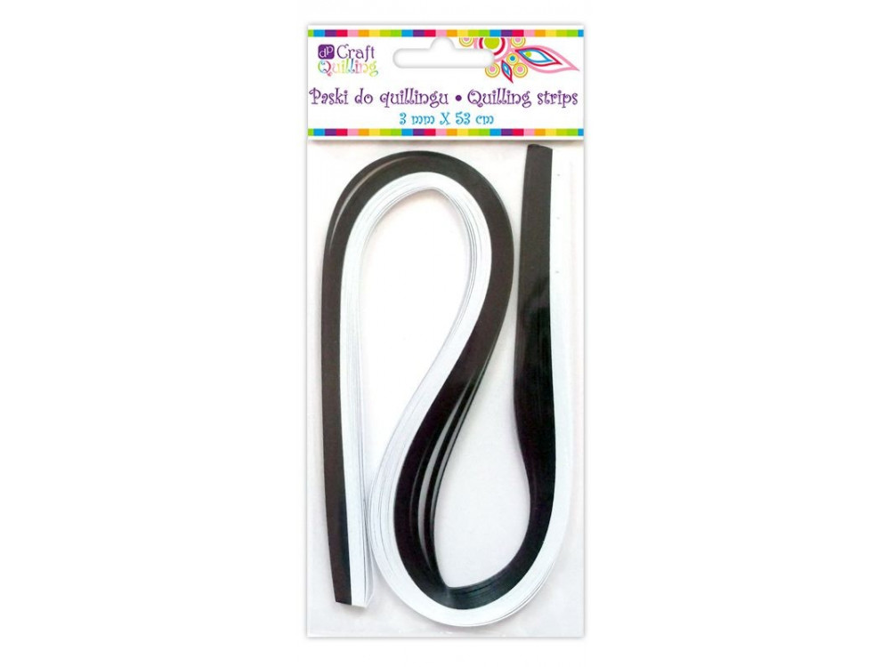 Quilling Strips - black and white, 3 mm, 100 pcs.