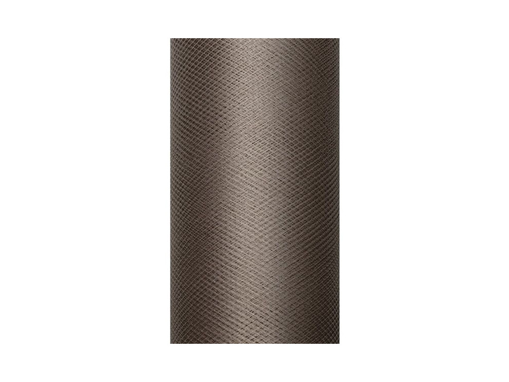 Tiul dekoracyjny 15 cm - brązowy, 9 m