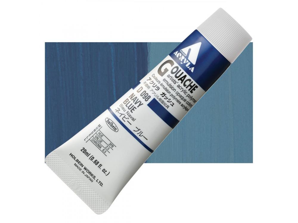 Acryla Gouache paint - Holbein - Navy Blue, 20 ml