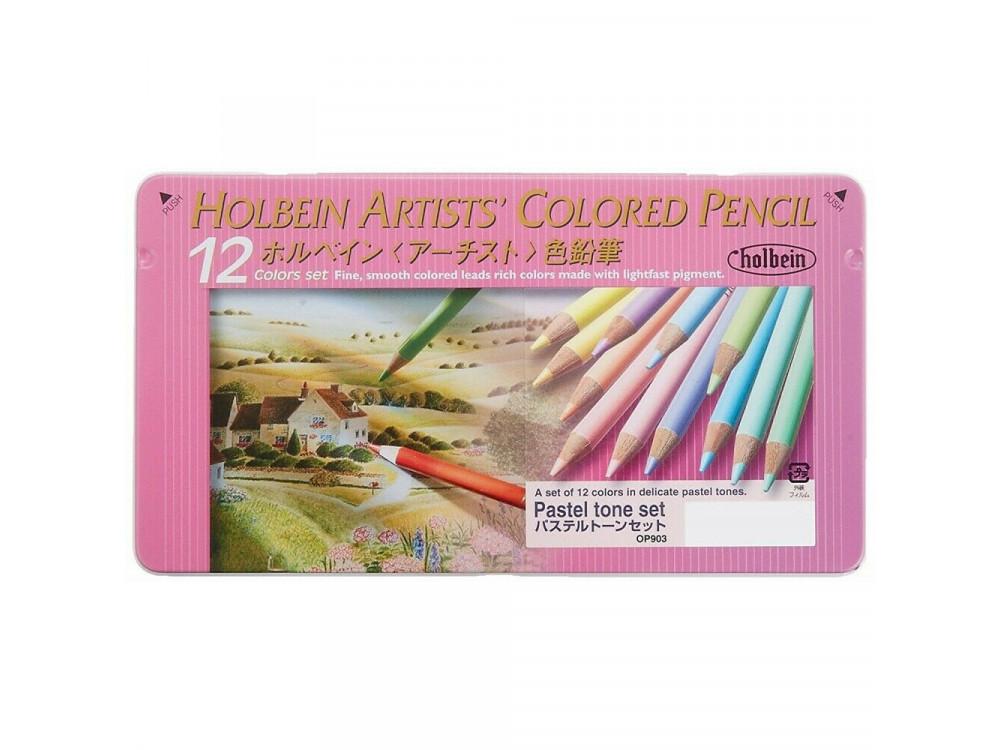 Set of Artists' Colored Pencils - Holbein - Pastel Tones, 12 pcs