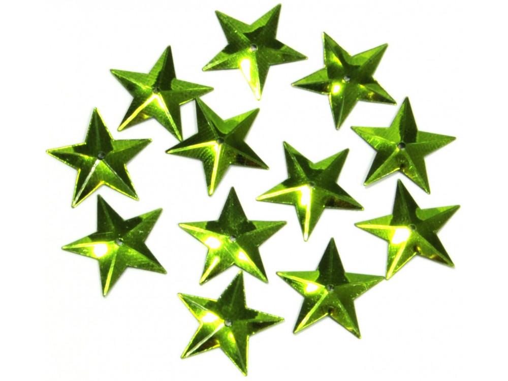Confetti, sequins Stars - green, 16 mm, 18 g