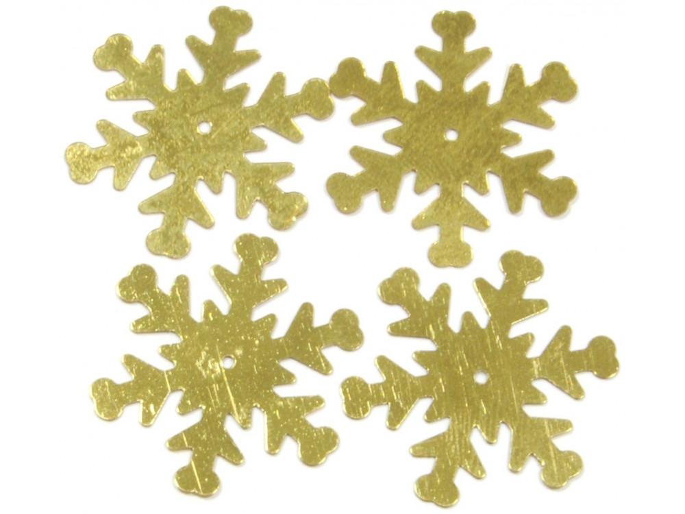 Konfetti śnieżynki - złote, 26 mm, 18 g