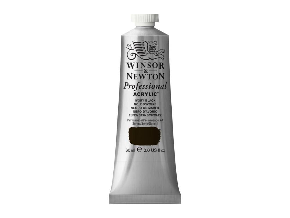 Acrylic paint Professional Acrylic - Winsor & Newton - Ivory Black, 60 ml