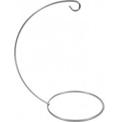 Stojak, wieszak metalowy na bombkę - srebrny, 14 cm