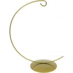 Stojak, wieszak metalowy na bombkę - złoty, 20 cm