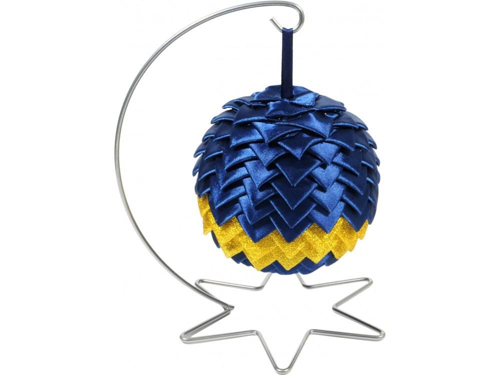 Stojak, wieszak metalowy na bombkę - srebrny, 20 cm