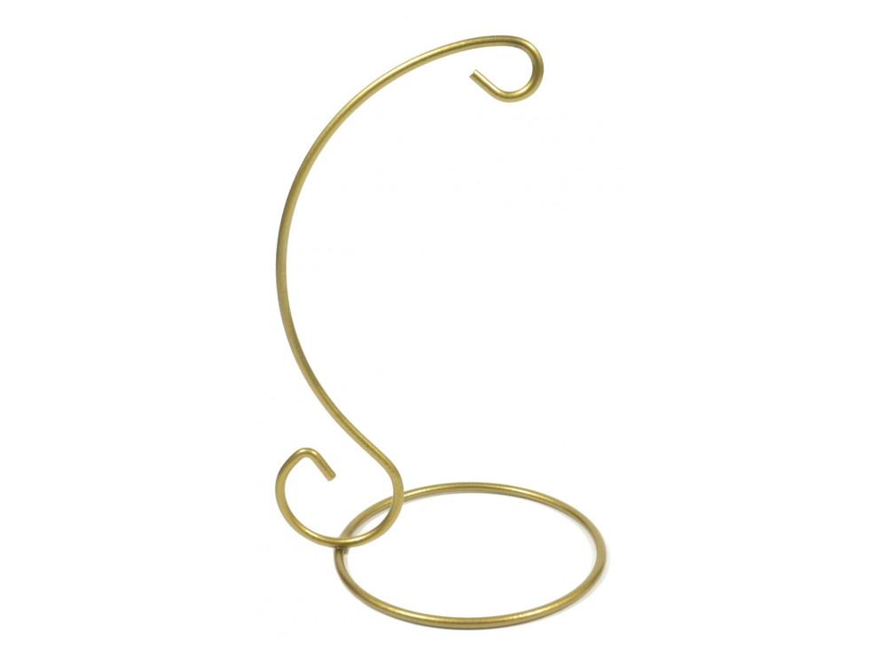 Stojak, wieszak metalowy na bombkę - złoty, 16 cm