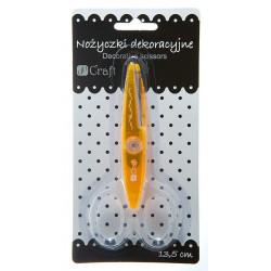 Nożyczki ozdobne, ostrze wycinające ozdobny wzór - DpCraft - pomarańczowe, 13,5 cm