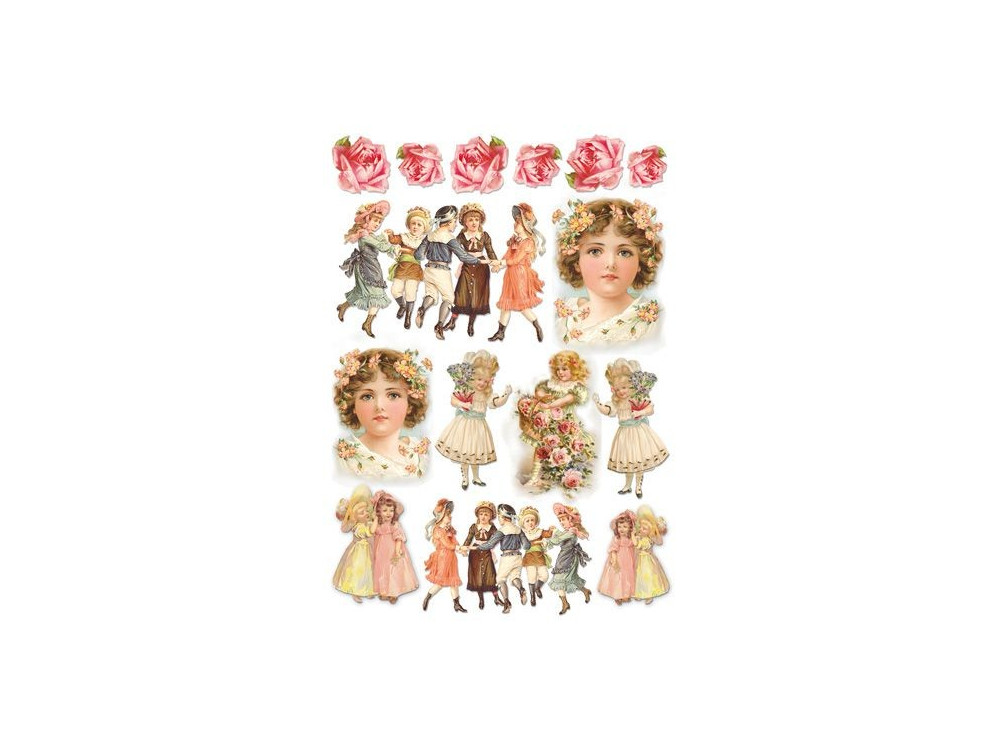 Papier ryżowy A4 - Stamperia - Dzieci Vintage