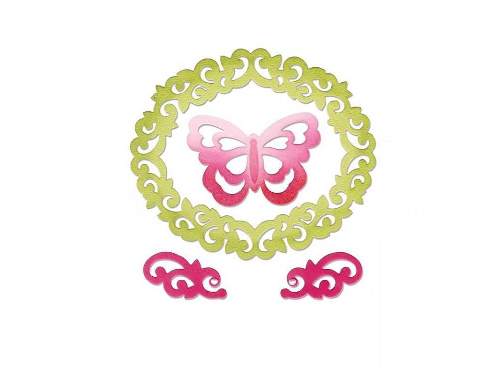 Zestaw wykrojników Thinlits - Sizzix - Butterfly, Flourishes & Frame, 4 szt.