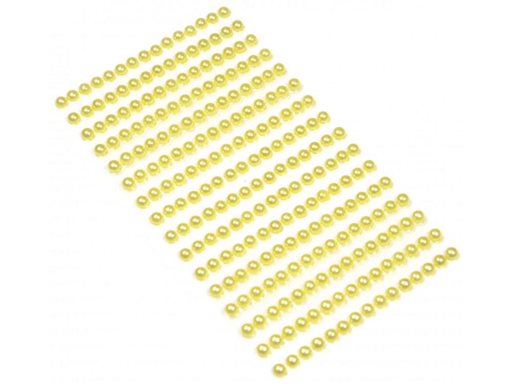 Perły samoprzylepne 4 mm - żółte, 240 szt.