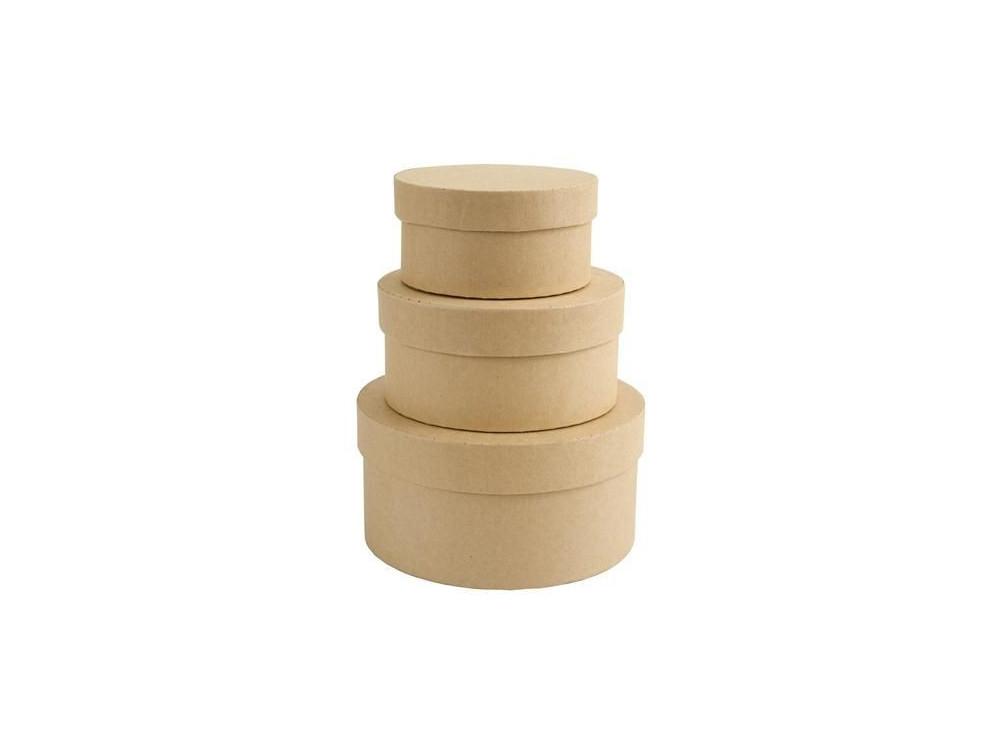 Pudełka tekturowe - Papermania - okrągłe, 3 szt.