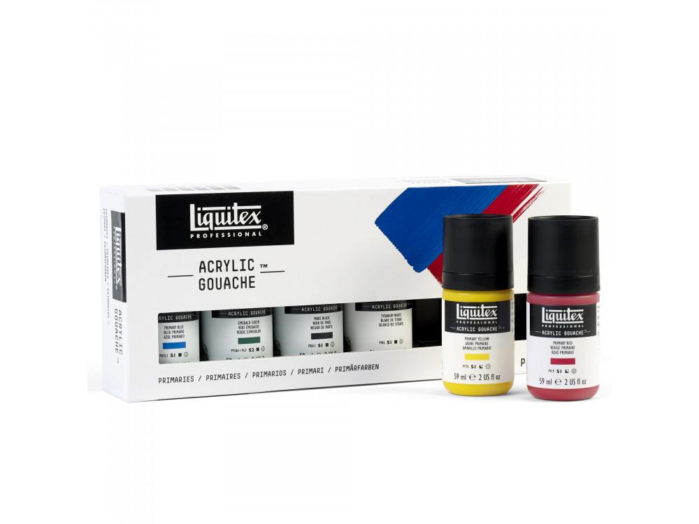 Set of acrylic gouache paints Primaries - Liquitex - 6 colors x 59 ml
