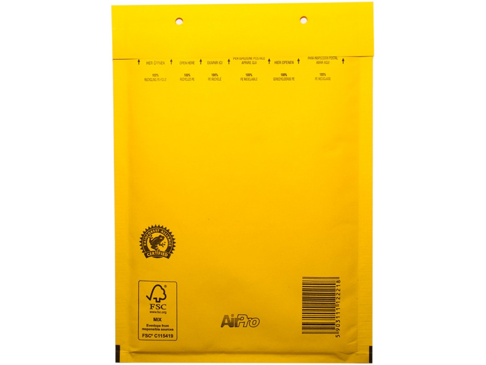 Coloured bubble envelopes D14 A5 10/pkg mailers yellow