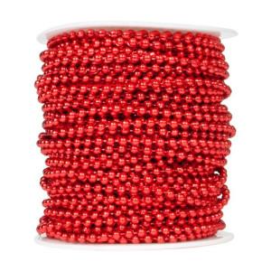 Perły korale na sznurku 4 mm 40 m czerwone