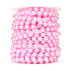 Perły korale na sznurku 8 mm 10 m różowe