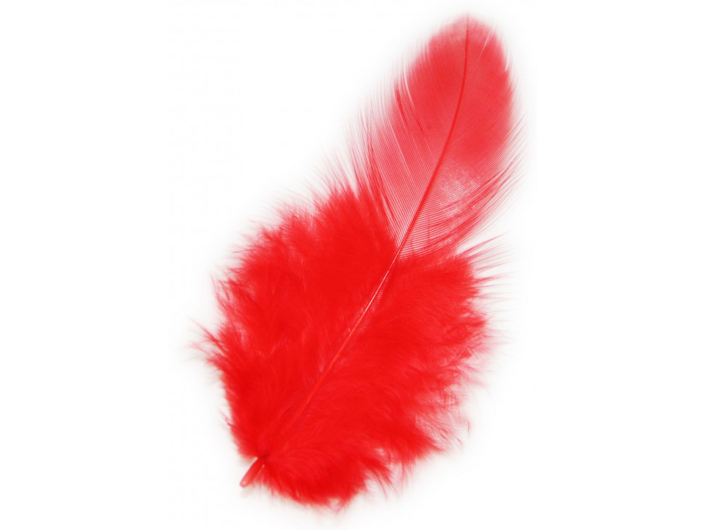 Piórka dekoracyjne, ozdobne - czerwone, 190 szt.