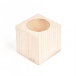 Kubek, pojemnik na długopisy - drewniany, 7 x 7 x 7 cm